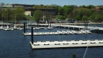 The new docks at USCG Academy include a mix of traditional berths and specially design sailing dinghy docks