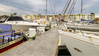 The marina's concrete docks featured an Ashlar's pattern